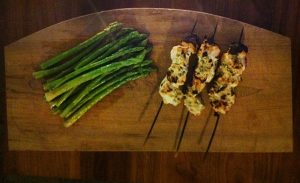 Chicken kebabs in greek yogurt marinade