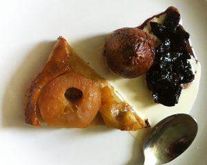 Pear Tatin with stewed Prunes swimming in cream